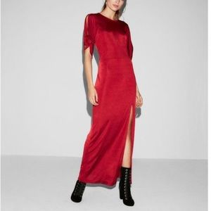 Express Tie Sleeve High Slit Maxi Dress Ruby Red